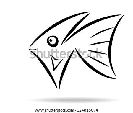 Abstract stylized fish symbol. Raster version - stock photo