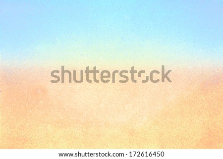 Abstract  Summer beach recycled paper textured background with film grain. Pastel colors yellow and blue. Designed grunge paper texture. - stock photo