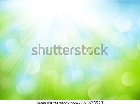Abstract summer bokeh background with sunlight