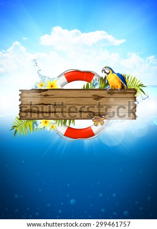 Abstract summer invitation poster or flyer background with empty space
