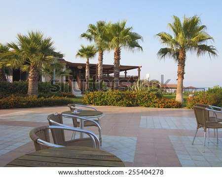 Abstract summer outdoor terrace cafe near beach - stock photo