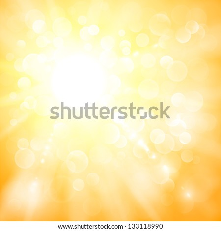 Abstract sun illustration with defocused lights - raster version - stock photo