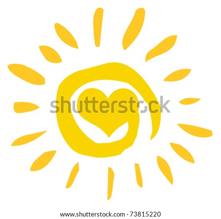 Abstract Sun With Heart - stock photo
