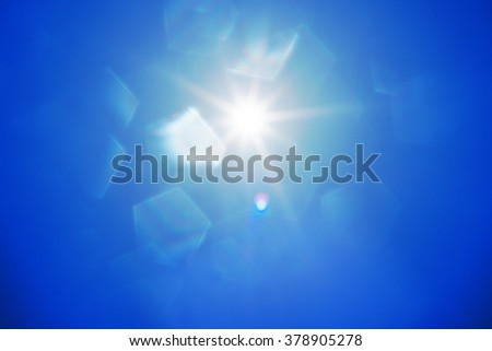 abstract sun with lens flare and pentagon bokeh.