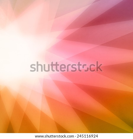 abstract sunburst or star burst background, triangle shapes layered on background, pink red orange yellow and gold angled shapes in star pattern design - stock photo