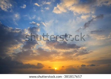 Abstract sunset cloud