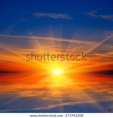 Abstract sunset over water surface - stock photo