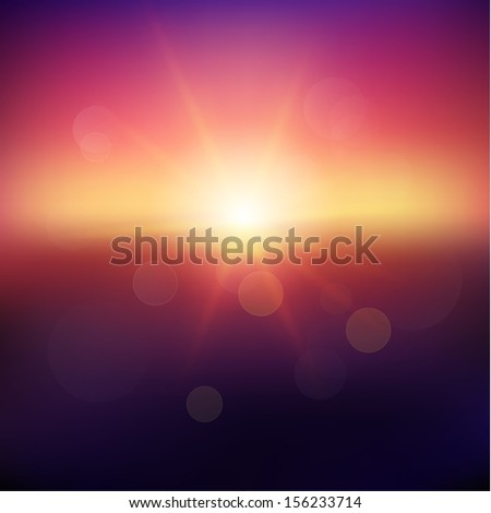 Abstract sunset with defocused lights  - raster version - stock photo