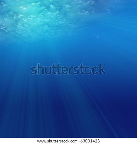 Abstract sunshine through the water - stock photo