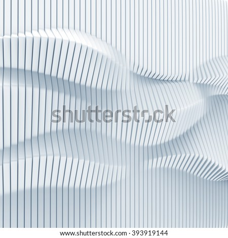abstract surface made of vertical panels forming wavy 3d geometry - stock photo