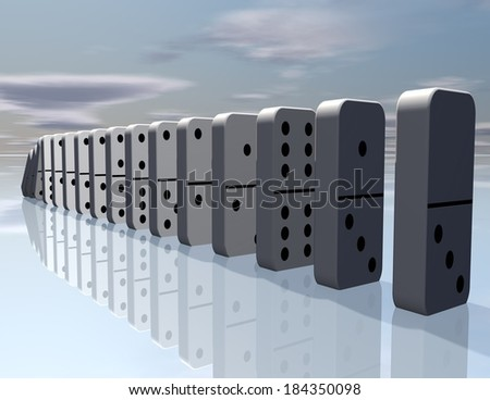 abstract surreal background with domino game, sky and floor, game, strategy concept - stock photo