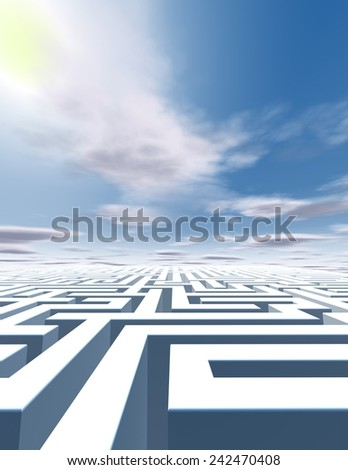 Abstract surreal vertical background with labyrinth and blue sky with clouds and sun. - stock photo