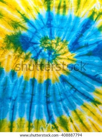 Abstract Swirl Design Tie Dye on the fabric. - stock photo