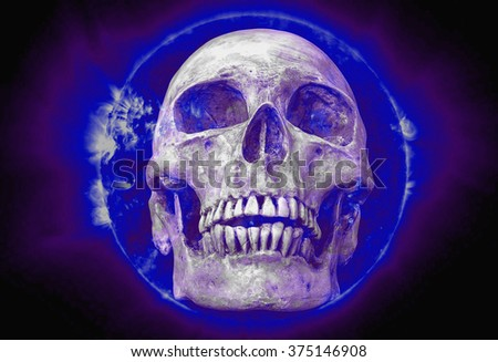 abstract symbol idea with skull, The life of people, Human skull in the blue sun color effect