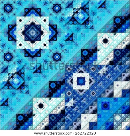 Abstract Symmetrical fractal Geometry Art colorful Pattern  - stock photo