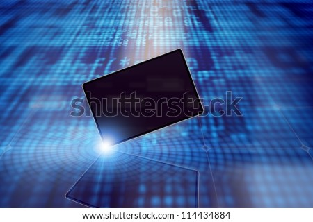 Abstract tablet PC, smartphone, laptop on blue background