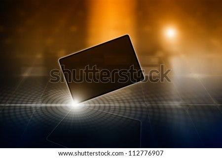 Abstract tablet PC, smartphone, laptop on dark background