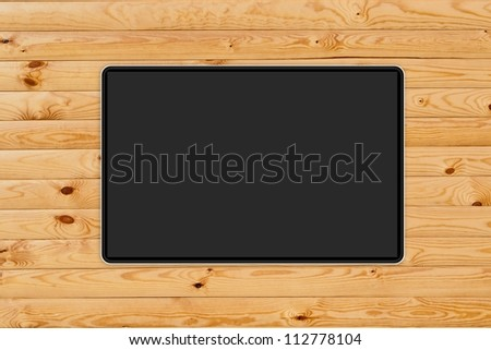 Abstract tablet PC, smartphone, laptop on wooden board