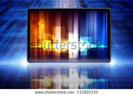 Abstract tablet PC, smartphone, laptop with equalizer on screen