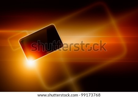 Abstract tablet PC, smartphone on dark background with bright light - stock photo