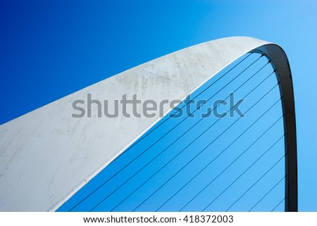 Abstract take on Gateshead Millennium Bridge. The bridge spans the River Tyne in north east England.