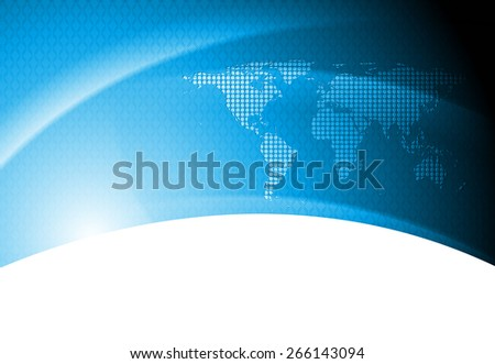 Abstract tech background with world map - stock photo