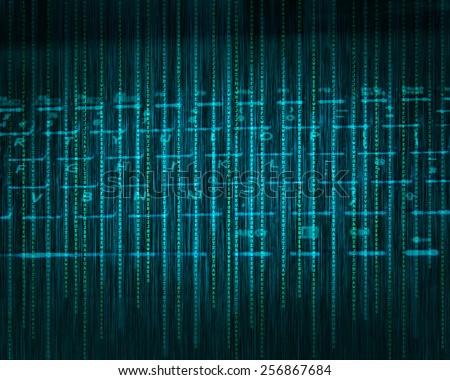 Abstract tech binary blue keyboard background - stock photo