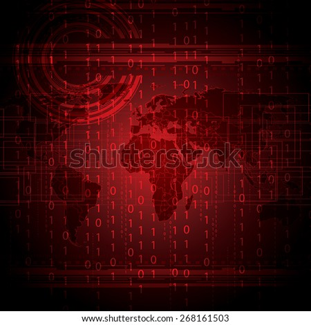 Abstract tech binary red global background