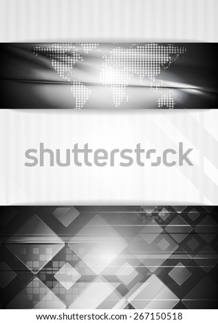 Abstract tech business background with world map - stock photo