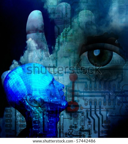 Abstract tech human illustration in cool hue - stock photo