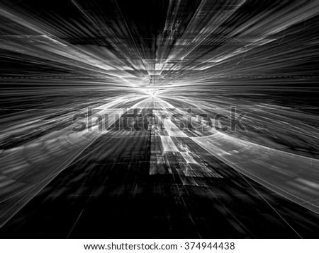 Abstract tech style background -  computer-generated  image black and white stretches to the horizon textured surface. Fractal background with perspective for banners, posters, web design, covers. - stock photo
