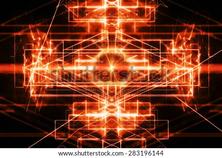 Abstract technical background with laser ray - stock photo