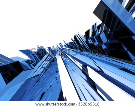 Abstract technical translucent blue object  - stock photo