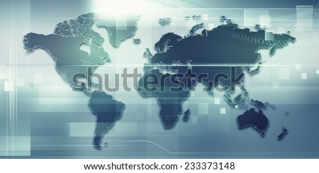 Abstract techno backgrounds with Earth map for your design - stock photo