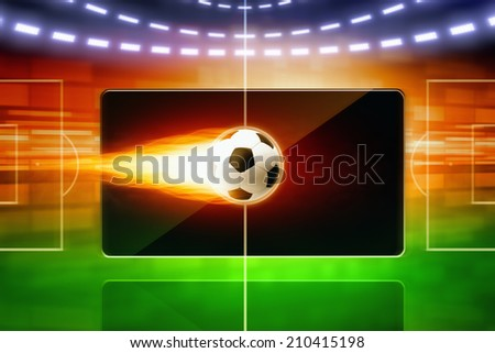 Abstract technological background with burning soccer ball, soccer stadium layout, sports game online concept