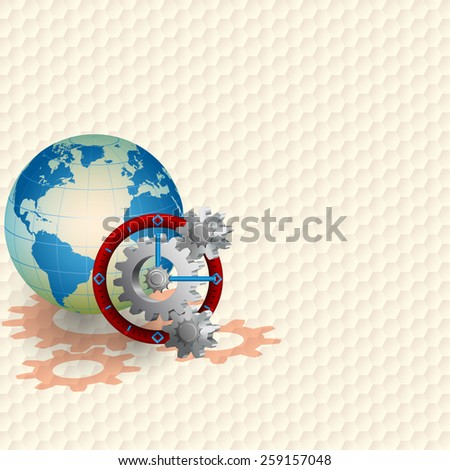 Abstract technology background;Cogwheels spinning inside of clock;Earth globe behind three dimensions machinery alike a clock; Hexagonal pattern background.  - stock photo