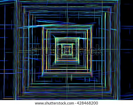 Abstract technology background -  computer-generated image. Fractal pattern - chaos lines like square tunnel, well or chip. Digital art for covers, posters, web design. - stock photo
