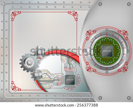 Abstract technology background;Processor Chip attached to metallic device connected with circuit board;Cogwheels symbol of technology; Steel boards tied together with many rivets.Ornamental frame.  - stock photo