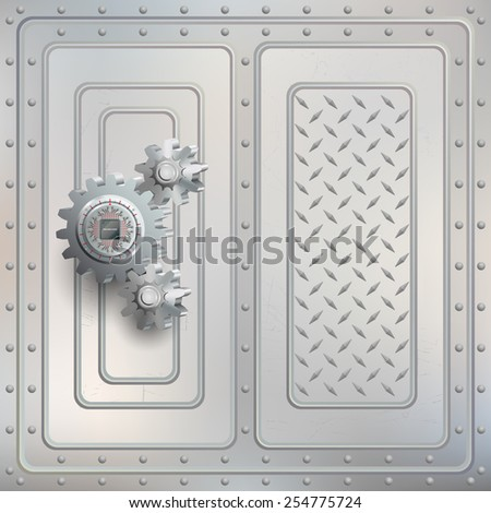 Abstract technology background;Processor Chip attached to metallic device nailed to cogwheels with screws and scratched steel boards tied together with many rivets .  - stock photo