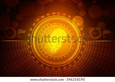 Abstract technology background.Security system concept with fingerprint