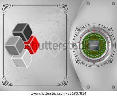 Abstract technology background; Tree dimensions cubes on scratched metallic background and processor chip connected to circuit board.   - stock photo