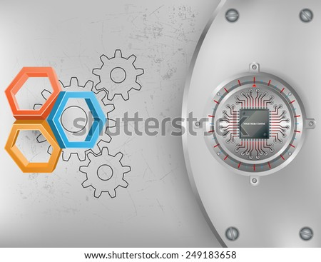 Abstract technology background; Tree dimensions hexagons on scratched metallic background and chip connected at circular metallic device nailed with screws to steel board - stock photo