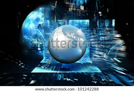 abstract technology background with a blue planet - stock photo