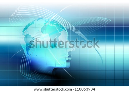 abstract technology background with a human head - stock photo