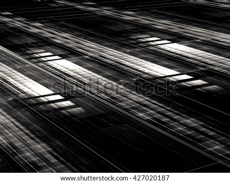 Abstract technology black and white background - computer-generated image. Rectangular grid with perspective and light effects. Fractal backdrop for web design, posters, covers