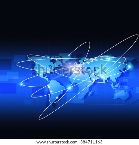 abstract technology business world connections blue background