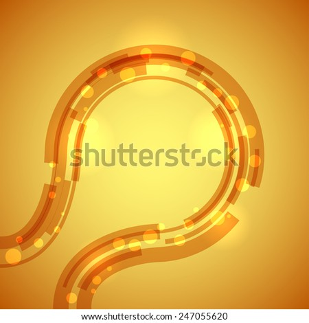 Abstract technology circular lines yellow background.  - stock photo
