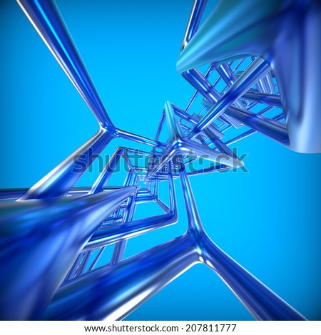Abstract technology 3D background with metallic rectangles.