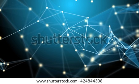 Abstract technology futuristic network - fantasy plexus background - stock photo