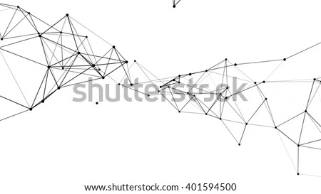 Abstract technology futuristic network - fantasy plexus background. 3D rendering. - stock photo
